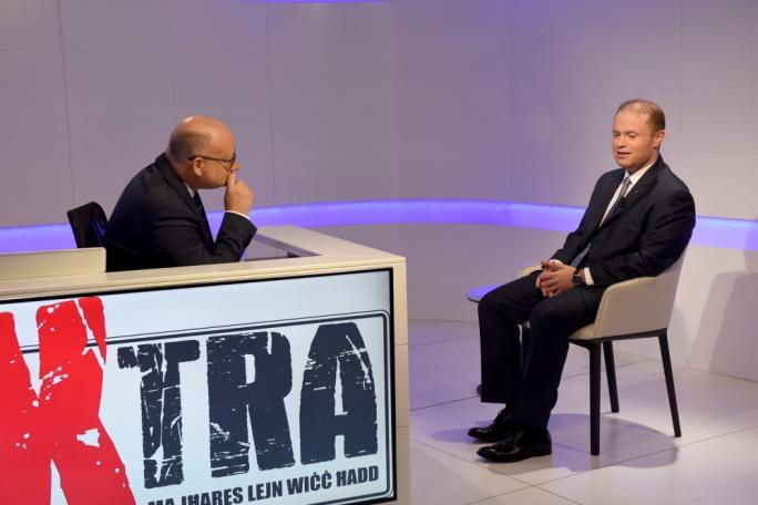 Saviour Balzan (left) interviewing Joseph Muscat